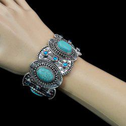 Fake Turquoise Decorated Oval Shape Bracelet