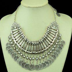 Ethnic Multilayered Coin Shape Fringed Necklace