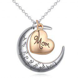 Moon Heart Engraved Pendant Necklace