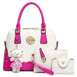 Fashion Bear Pendant and Color Block Design Women's Tote Bag - ROSE