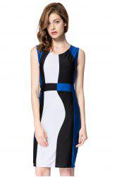 Trendy Sleeveless Scoop Neck Color Block Pullover Women's Dress - BLUE