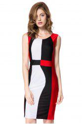 Trendy Sleeveless Scoop Neck Color Block Pullover Women's Dress - RED