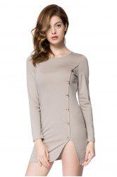 Short Button Long Sleeves Sheath Dress - LIGHT GRAY