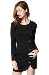 Short Button Long Sleeves Sheath Dress - BLACK