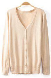 Stylish V-Neck Long Sleeve Buttoned Solid Color Cardigan For Women