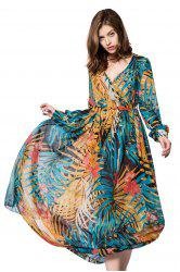 Bohemian V-Neck Printed Long Sleeve Dress For Women