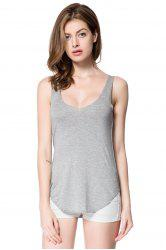 Simple Style Plunging Neck Sleeveless Solid Color Modal Women's Tank Top -