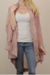 Chic Peony Print Voile Fringed Kimono Scarf For Women -