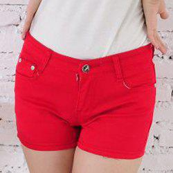 Stylish Low-Waist Button Design Solid Color Women's Shorts