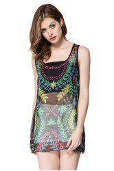Casual U-Neck Sleeves See-Through Embroidered Tank Top For Women - COLORMIX