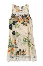 Ethnic Style Sleeveless Floral Print Lace Splicing Dress For Women -