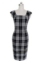 Stylish Square Neck Sleeveless Plaid Bodycon Dress For Women - WHITE AND BLACK M