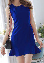 Elegant Round Neck Sleeveless Solid Color Flounced Women's Dress -