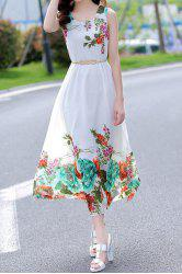 Fashionable Scoop Collar Sleeveless Floral Print Women's Chiffon Dress - WHITE