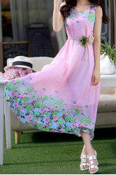 Fashionable Scoop Neck Sleeveless Floral Print Chiffon Women's Dress -