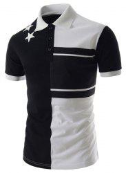 Personality Color Splicing Turn-down Collar Fitted Short Sleeves Men's Polyester Polo T-Shirt