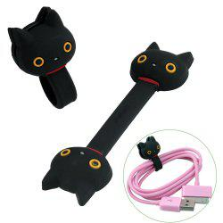 2pcs / Set Cartoon Black Cat Kutusita Nyanko Cable Ties Cord Organizer Wrap Winder for Headphones Earphones