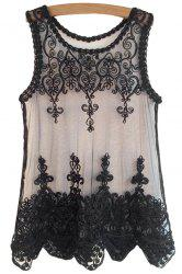 Fashionable Scoop Neck Black Lace Embroidery Sleeveless Tank Top For Women -