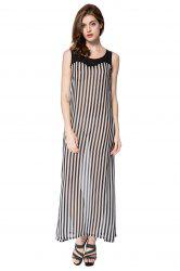 Stylish Scoop Neck Sleeveless Striped Voile Splicing Long Dress For Women