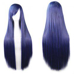 80CM Charming Glossy Side Bang Long Straight Heat Resistant Fibre Versatile Cosplay Wig - PURPLISH BLUE