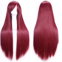 80CM Charming Glossy Side Bang Long Straight Heat Resistant Fibre Versatile Cosplay Wig - WINE RED