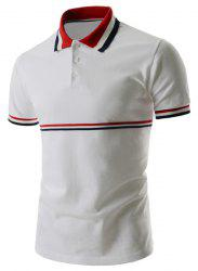 Trendy équipée col rabattu Polo polyester Stripes Splicing Color Block manches courtes T-shirt -
