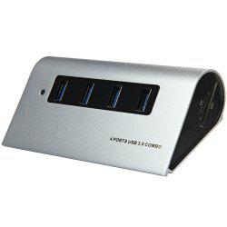 5Gbps 4 Ports USB 3.0 Hub + TF / SD Card Reader with LED Indication for Home Office -