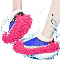 Practical Chenille Mop Slippers Dust Floor Cleaning Mopping Foot Shoes Home Pair Cleaner - RED