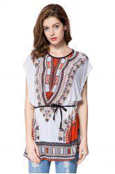 Trendy Full Print Batwing Sleeve Women's T-Shirt - WHITE