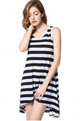 Striped Casual Tank Dress - BLACK