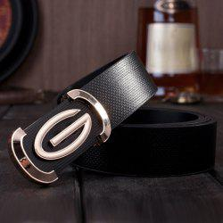 Stylish Letter G Shape Alloy Embellished Solid Color Belt For Men
