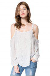Long Sleeve Cold Shoulder Lace Chiffon Top - WHITE