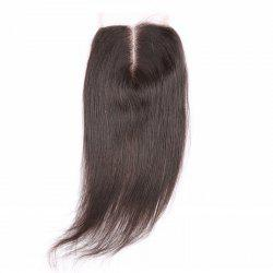 6A 4x4 Inch Fashion Straight Middle Part Natural Black Brazilian Virgin Hair Top Closure For Women -