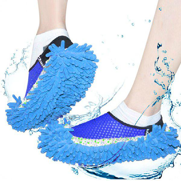 Practical Chenille Mop Slippers Dust Floor Cleaning Mopping Foot Shoes Home Pair CleanerHOME<br><br>Color: BLUE; Type: Practical,Leisure; For: All; Occasion: Home; Material: Chenille; Color: Red,Blue,Purple,Orange;