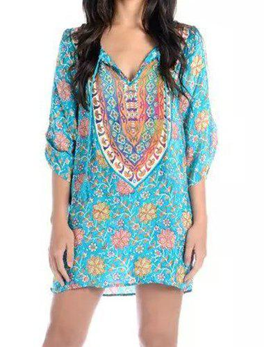 Outfits Ethnic V-Neck 3/4 Sleeve Floral Print Loose-Fitting Dress For Women