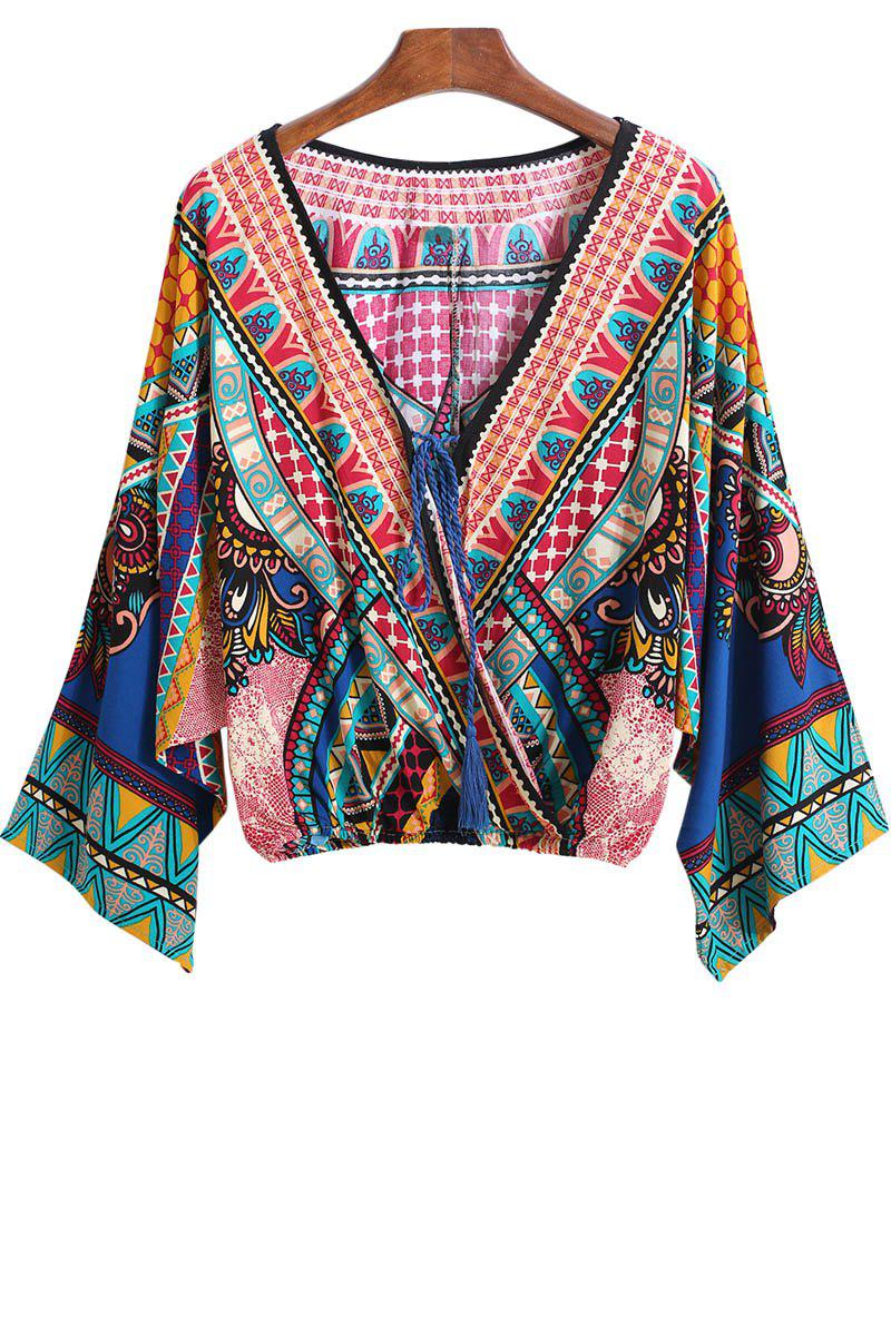 Chic Ethnic Style V-Neck Color Block Print Tie-Up crop blouse Kimono Long Sleeve Kimono For Women
