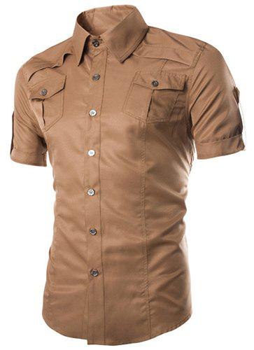 Chic Fashion Shirt Collar Fitted Multi-Pocket Curling Edge Short Sleeve Polyester Shirt For Men