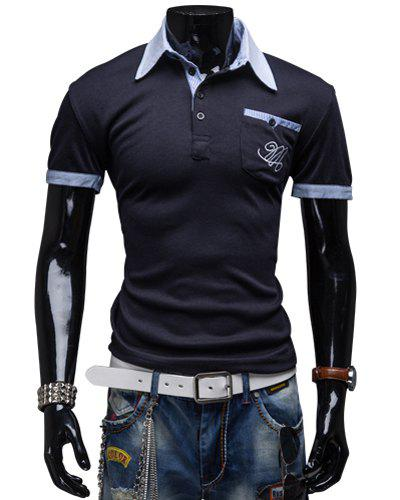Fashion Turndown Collar Slimming Color Block Splicing Embroidered Short Sleeve Polyester Polo T-Shirt For Men