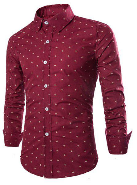 Sale Western Style Turn-down Collar Anchor Print Slimming Long Sleeves Men's Cotton Blend Shirt