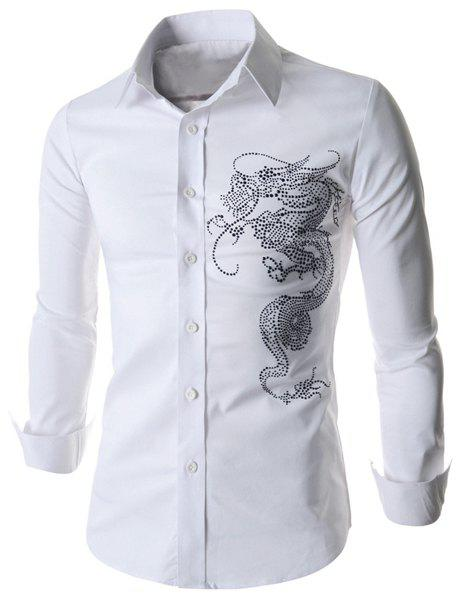 Outfit Stylish Fitted Turn-down Collar Beads Embellished Long Sleeves Men's Cotton Blend Shirt