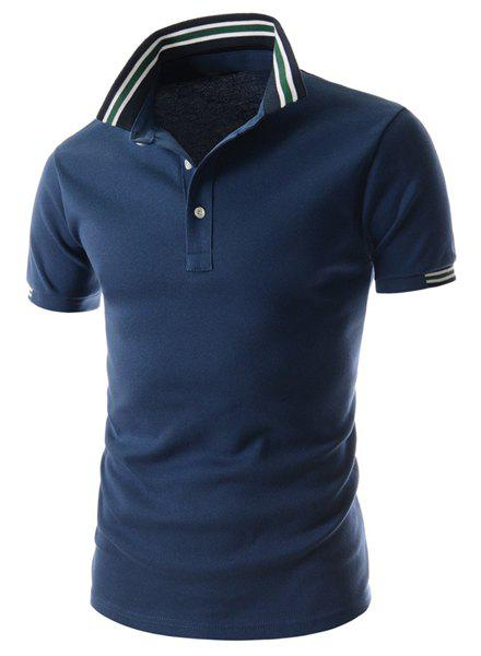 Outfits Refreshing Turn-down Collar Stripes Splicing Fitted Short Sleeves Men's Polyester Polo T-Shirt