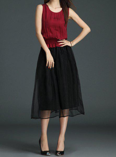 Outfits Sweet Scoop Neck Color Block Sleeveless A-Line Dress For Women