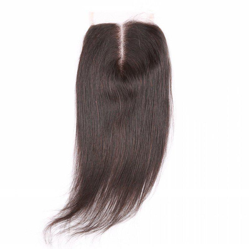 Hot 6A 4x4 Inch Fashion Straight Middle Part Natural Black Brazilian Virgin Hair Top Closure For Women