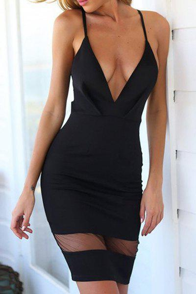 Best Sexy Plunging Neckline Mesh Splicing Cut Out Bodycon Dress For Women