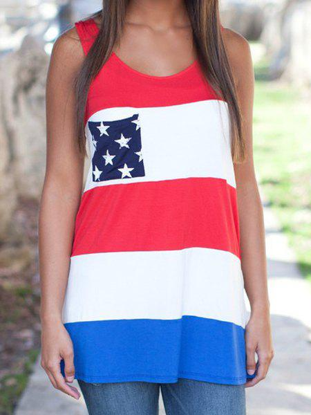 c72d835e70 Fashion Stylish Scoop Neck American Flag Print Color Block Sleeveless  Women's Tank Top