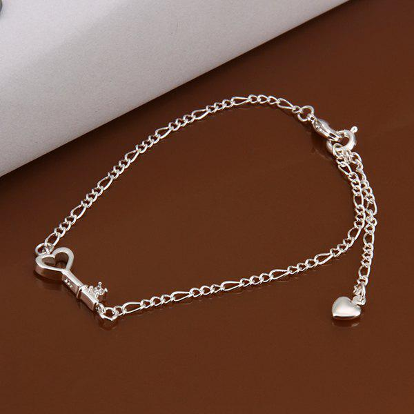 Chic Key Spliced Solid Color Hollow Out AnkletJEWELRY<br><br>Color: WHITE; Gender: For Women; Metal Type: Silver Plated; Style: Trendy; Shape/Pattern: Key; Length: P:1.9x0.7CM; Weight: 0.060KG; Package Contents: 1 x Anklet;