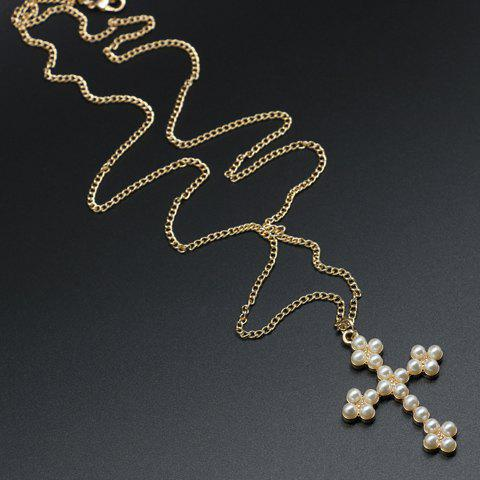 Fancy Faux Pearl Cross Sweater Chain Necklace