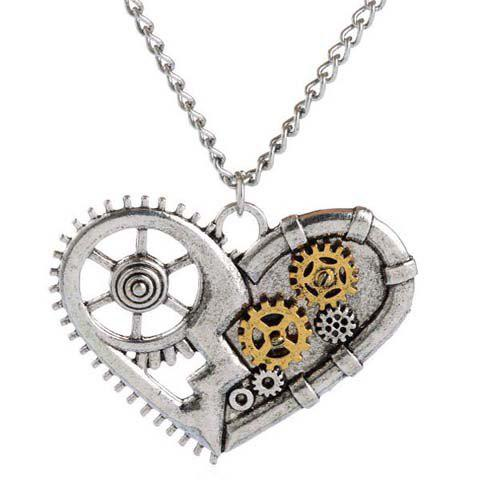 Punk Heart Pendant Necklace For MenJEWELRY<br><br>Color: SILVER GRAY; Item Type: Pendant Necklace; Gender: For Men; Style: Trendy; Shape/Pattern: Heart; Weight: 0.050KG; Package Contents: 1 x Necklace;