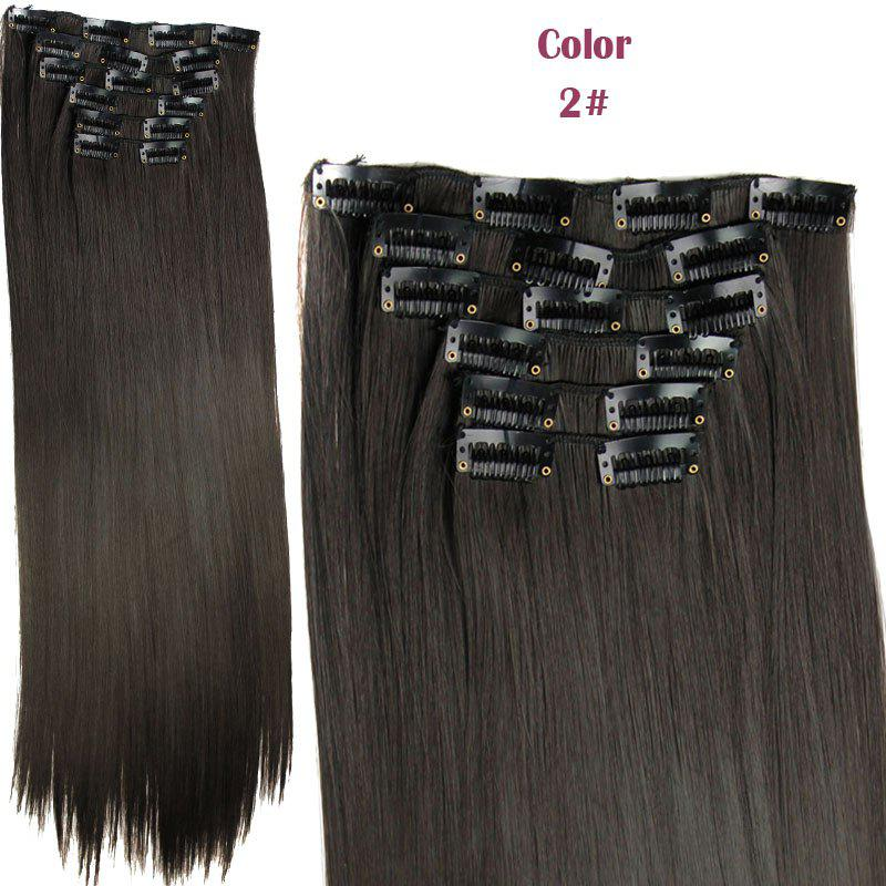 Long Straight Clip-In Heat Resistant Synthetic Hair Extension Suit For WomenHAIR<br><br>Color: 02#; Hair Extension Type: Clip-In/On; Style: Straight; Fabric: Heat Resistant Synthetic Hair; Length: Long; Weight: 0.190kg; Package Contents: 1 x Hair Extension Suit; Length Size(CM): 59-60;
