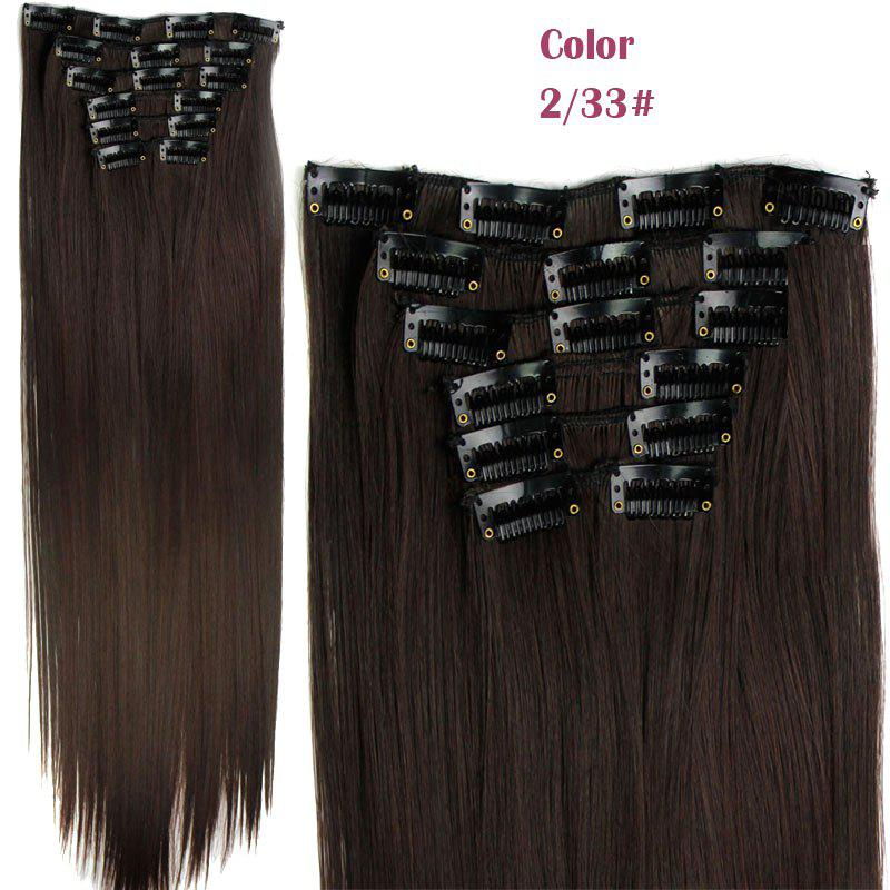 Long Straight Clip-In Heat Resistant Synthetic Hair Extension Suit For WomenHAIR<br><br>Color: 2/33#; Hair Extension Type: Clip-In/On; Style: Straight; Fabric: Heat Resistant Synthetic Hair; Length: Long; Weight: 0.190kg; Package Contents: 1 x Hair Extension Suit; Length Size(CM): 59-60;